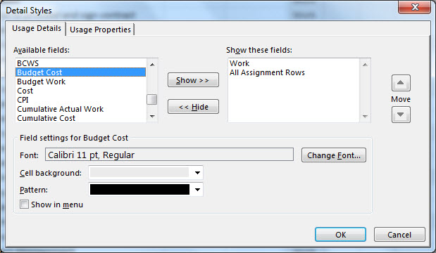 Detail Styles dialog