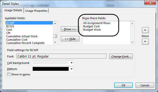 Detail Styles dialog - Budget rows added