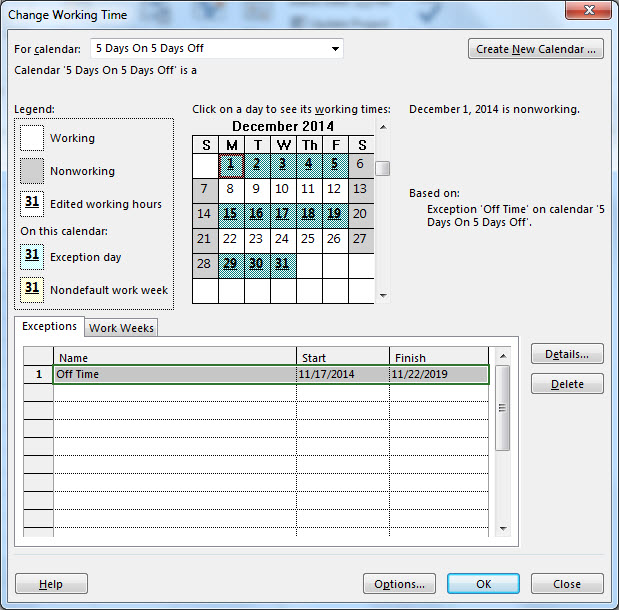 creating an unusual scheduling calendar in microsoft project