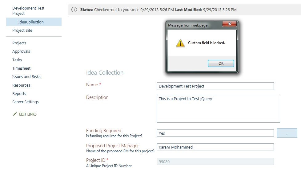custom SharePoint field is locked