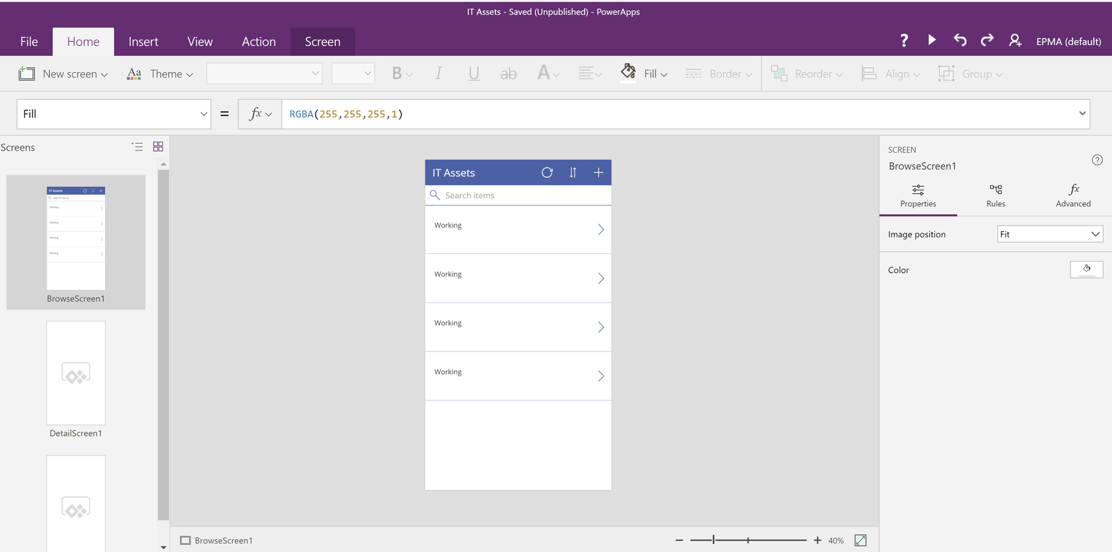 PowerApps screen
