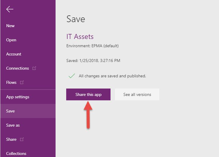 Saving Microsoft PowerApp