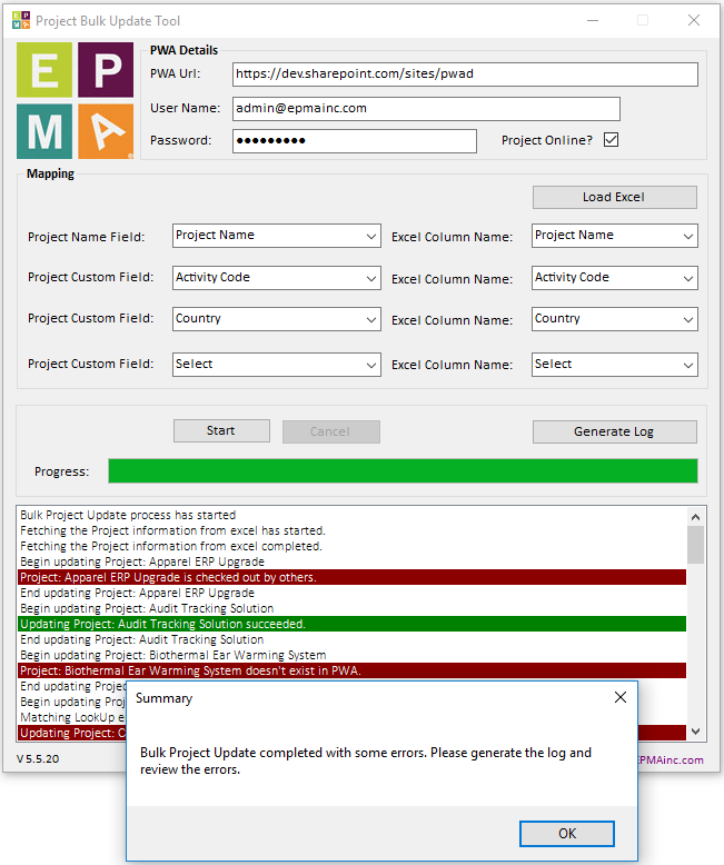 Project Server/Online Project Bulk Update Tool   Project