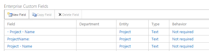 Project Custom Fields with special charechters