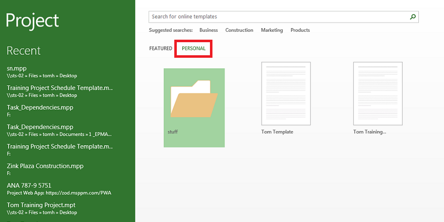 creating a default template location in microsoft project 2013