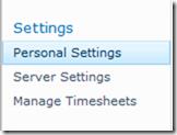 personal settings